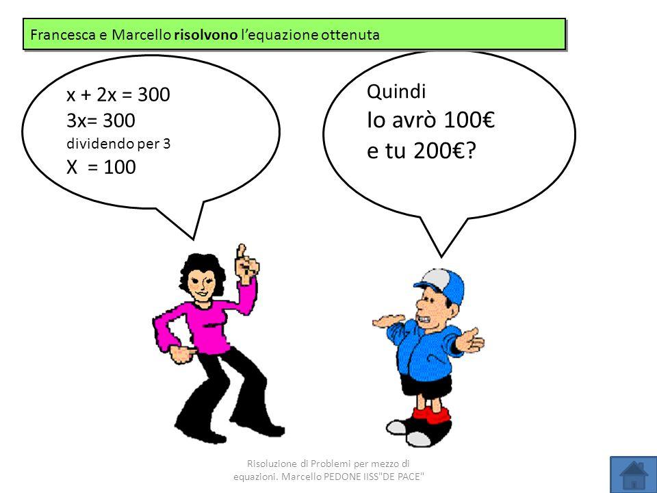 Quindi Io avrò 100 e tu 200? x + 2x = 300 3x= 300 dividendo per 3 X = 100 Francesca e Marcello risolvono lequazione ottenuta Risoluzione di Problemi p