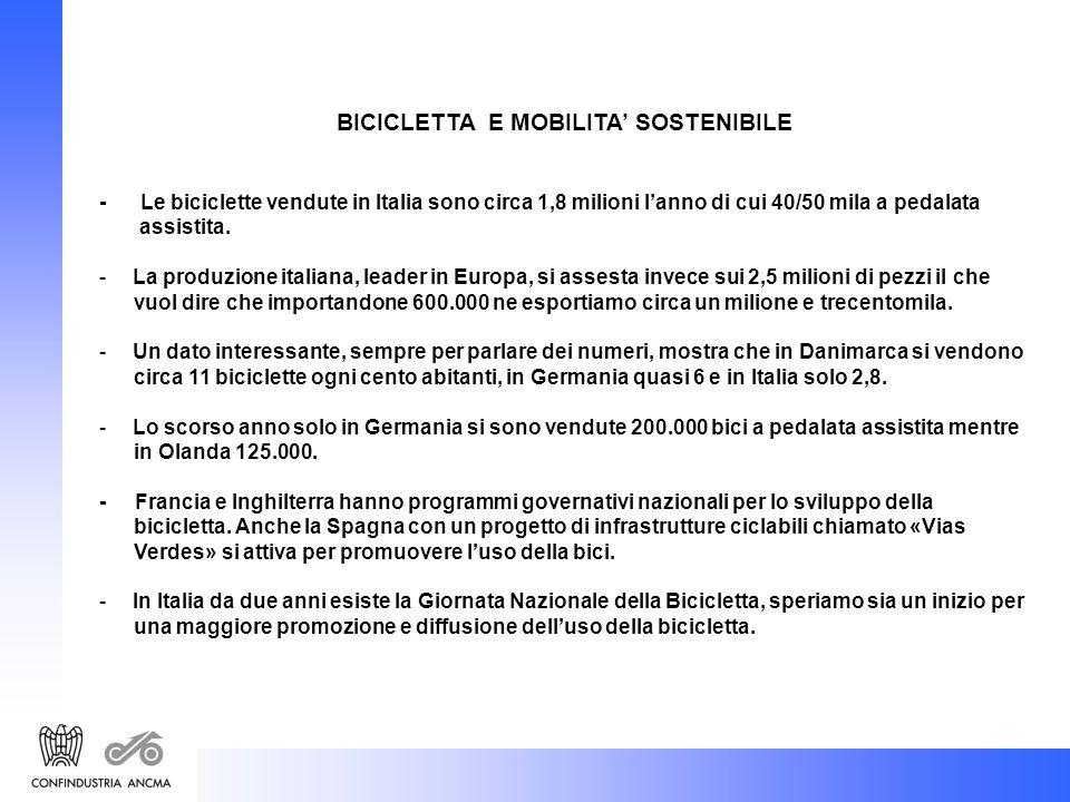 BICICLETTA E MOBILITA SOSTENIBILE - Le biciclette vendute in Italia sono circa 1,8 milioni lanno di cui 40/50 mila a pedalata assistita.