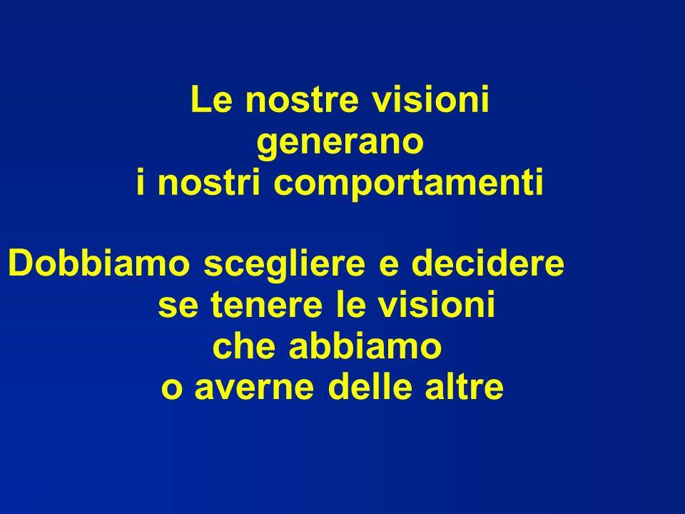 Le nostre visioni generano i nostri comportamenti Dobbiamo scegliere e decidere se tenere le visioni che abbiamo o averne delle altre