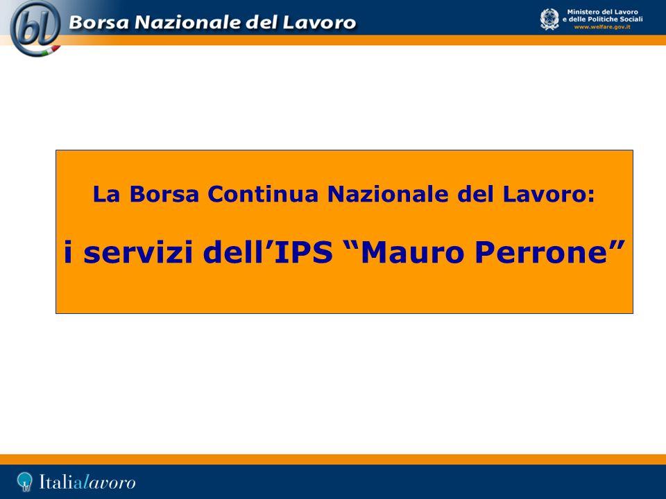 La Borsa Continua Nazionale del Lavoro: i servizi dellIPS Mauro Perrone
