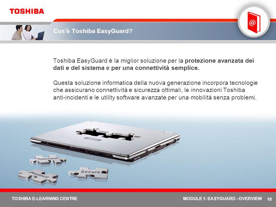 10 TOSHIBA E-LEARNING CENTREMODULE 1: EASYGUARD - OVERVIEW Cos'è Toshiba EasyGuard? Toshiba EasyGuard è la miglior soluzione per la protezione avanzat