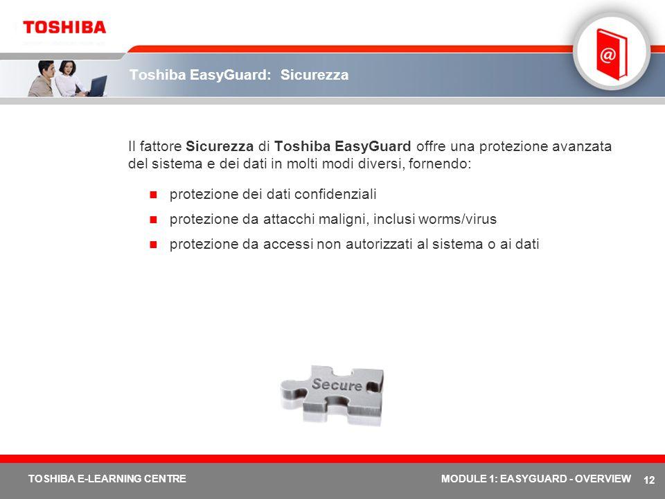 12 TOSHIBA E-LEARNING CENTREMODULE 1: EASYGUARD - OVERVIEW Toshiba EasyGuard: Sicurezza Il fattore Sicurezza di Toshiba EasyGuard offre una protezione