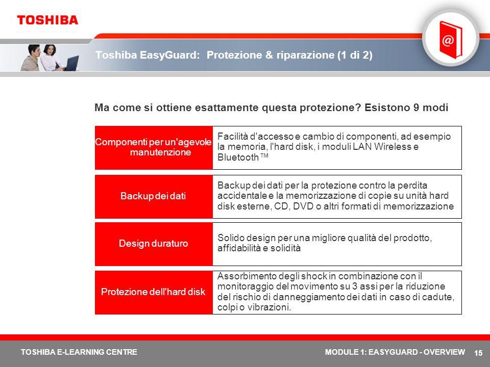 15 TOSHIBA E-LEARNING CENTREMODULE 1: EASYGUARD - OVERVIEW Toshiba EasyGuard: Protezione & riparazione (1 di 2) Ma come si ottiene esattamente questa