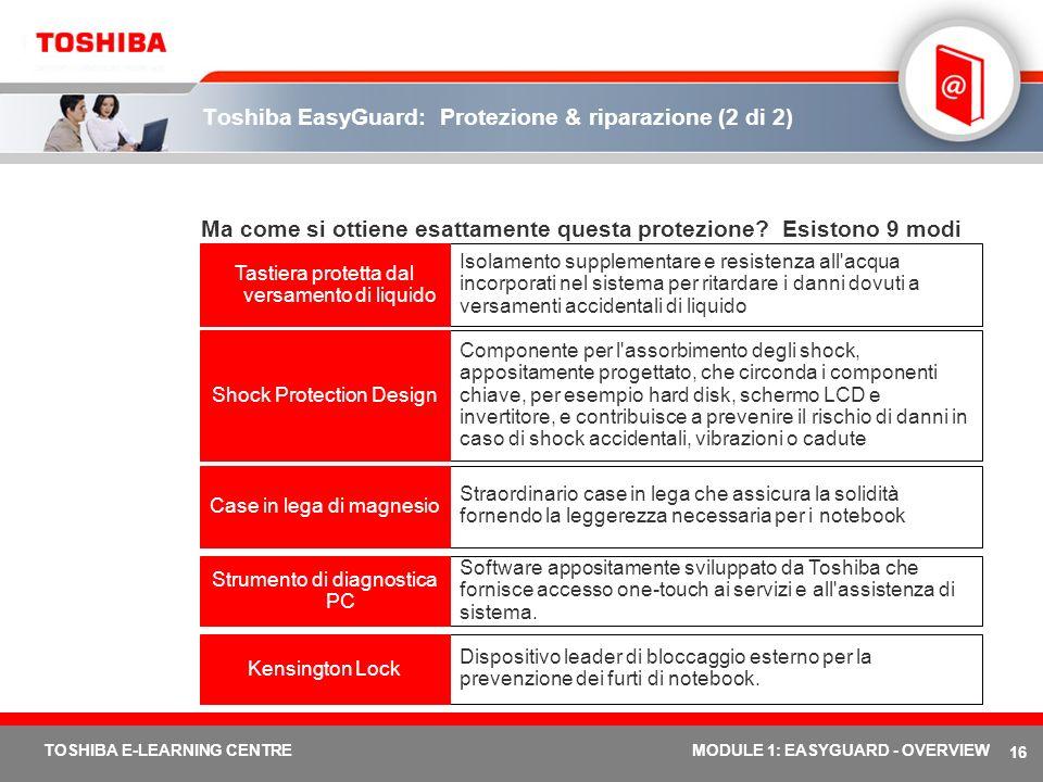 16 TOSHIBA E-LEARNING CENTREMODULE 1: EASYGUARD - OVERVIEW Toshiba EasyGuard: Protezione & riparazione (2 di 2) Ma come si ottiene esattamente questa