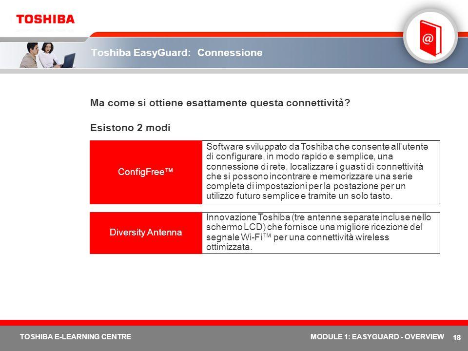 18 TOSHIBA E-LEARNING CENTREMODULE 1: EASYGUARD - OVERVIEW Toshiba EasyGuard: Connessione Ma come si ottiene esattamente questa connettività? Esistono