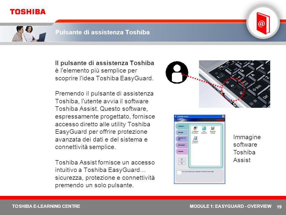19 TOSHIBA E-LEARNING CENTREMODULE 1: EASYGUARD - OVERVIEW Pulsante di assistenza Toshiba Il pulsante di assistenza Toshiba è l'elemento più semplice