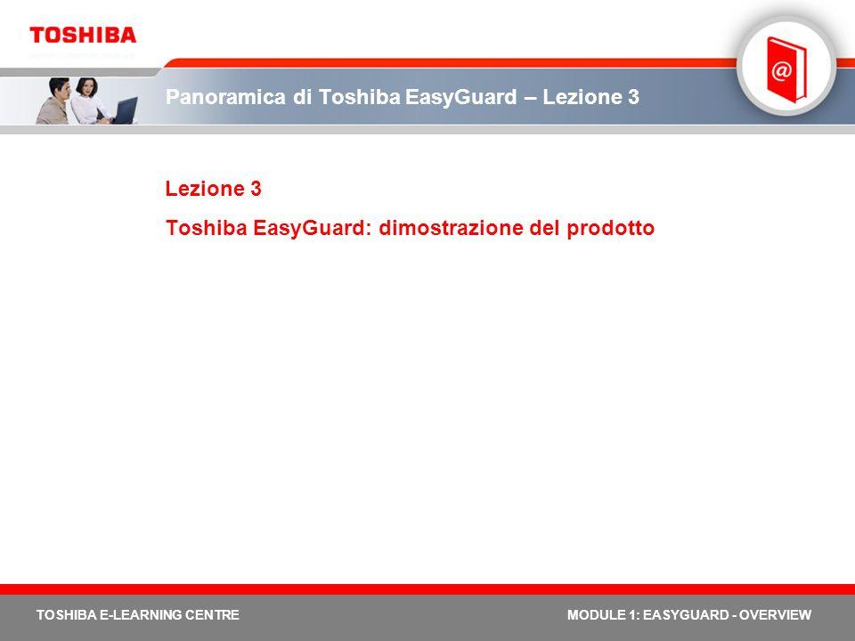 TOSHIBA E-LEARNING CENTREMODULE 1: EASYGUARD - OVERVIEW Panoramica di Toshiba EasyGuard – Lezione 3 Lezione 3 Toshiba EasyGuard: dimostrazione del pro