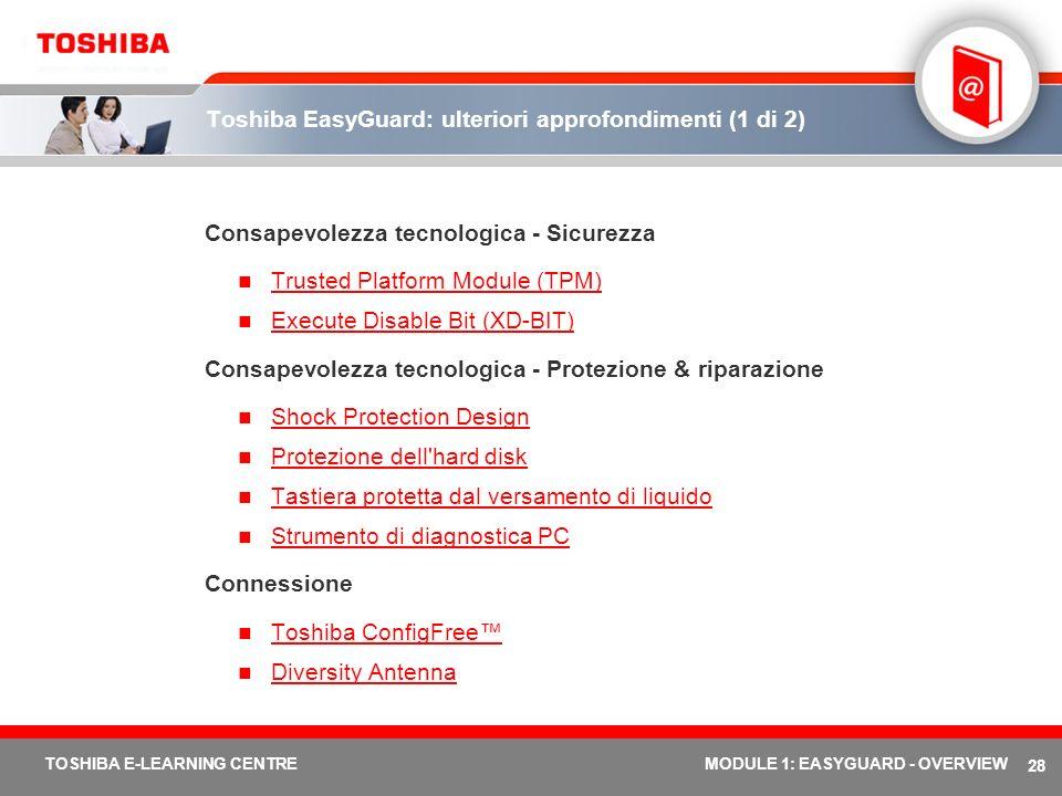 28 TOSHIBA E-LEARNING CENTREMODULE 1: EASYGUARD - OVERVIEW Toshiba EasyGuard: ulteriori approfondimenti (1 di 2) Consapevolezza tecnologica - Sicurezz