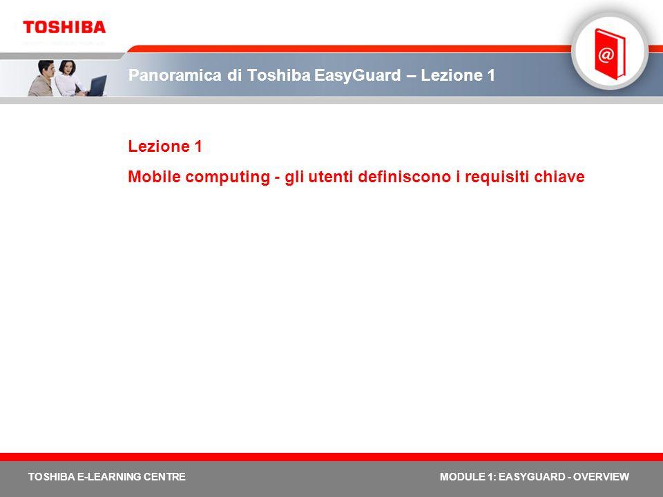 TOSHIBA E-LEARNING CENTREMODULE 1: EASYGUARD - OVERVIEW Panoramica di Toshiba EasyGuard – Lezione 1 Lezione 1 Mobile computing - gli utenti definiscon