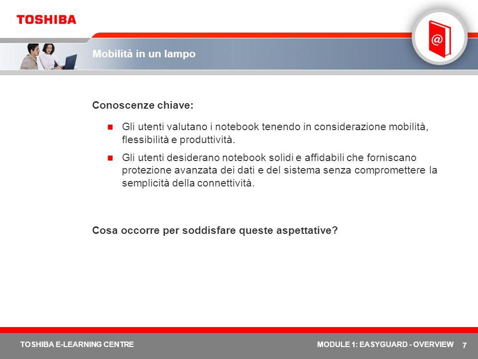 7 TOSHIBA E-LEARNING CENTREMODULE 1: EASYGUARD - OVERVIEW Mobilità in un lampo Conoscenze chiave: Gli utenti valutano i notebook tenendo in consideraz