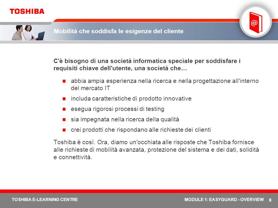 TOSHIBA E-LEARNING CENTREMODULE 1: EASYGUARD - OVERVIEW Panoramica di Toshiba EasyGuard – Lezione 2 Lezione 2 Cos è Toshiba EasyGuard.