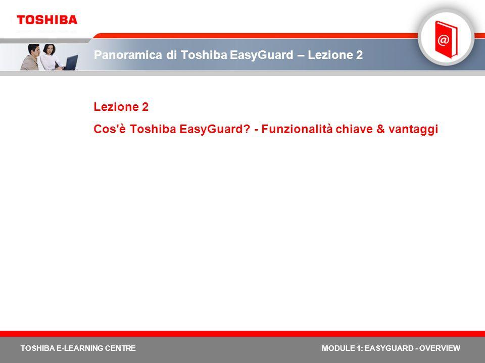 TOSHIBA E-LEARNING CENTREMODULE 1: EASYGUARD - OVERVIEW Panoramica di Toshiba EasyGuard – Lezione 2 Lezione 2 Cos'è Toshiba EasyGuard? - Funzionalità