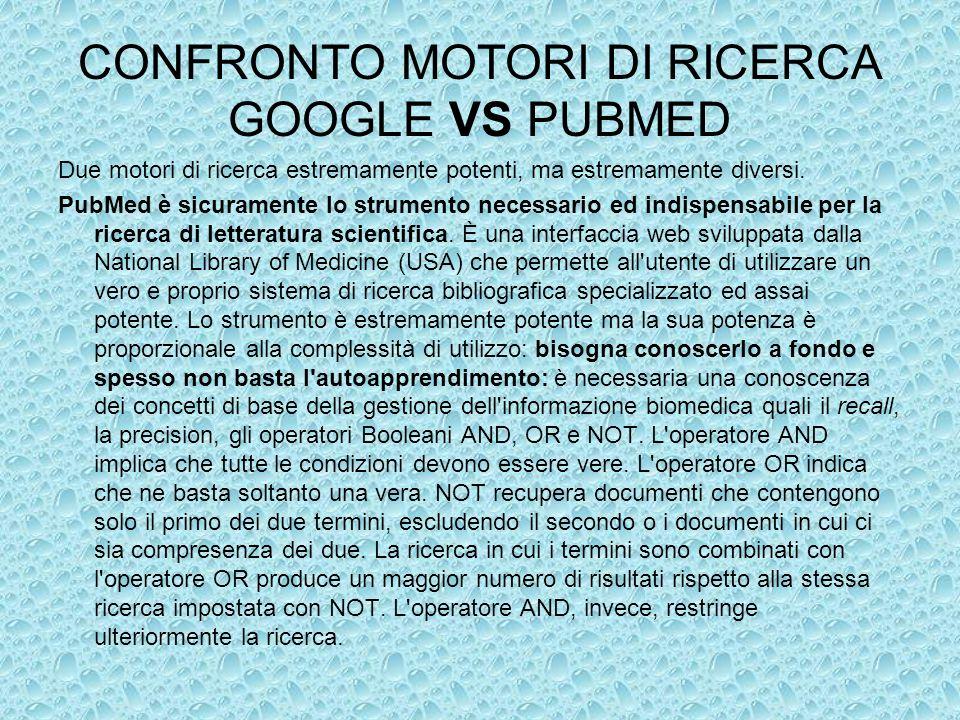 CONFRONTO MOTORI DI RICERCA GOOGLE VS PUBMED Due motori di ricerca estremamente potenti, ma estremamente diversi. PubMed è sicuramente lo strumento ne