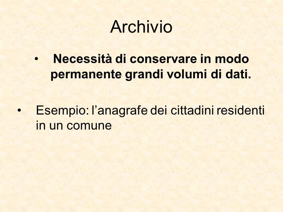Archivio Necessità di conservare in modo permanente grandi volumi di dati. Esempio: lanagrafe dei cittadini residenti in un comune