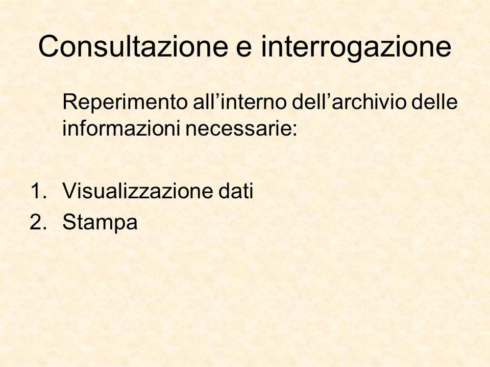 Consultazione e interrogazione Reperimento allinterno dellarchivio delle informazioni necessarie: 1.Visualizzazione dati 2.Stampa