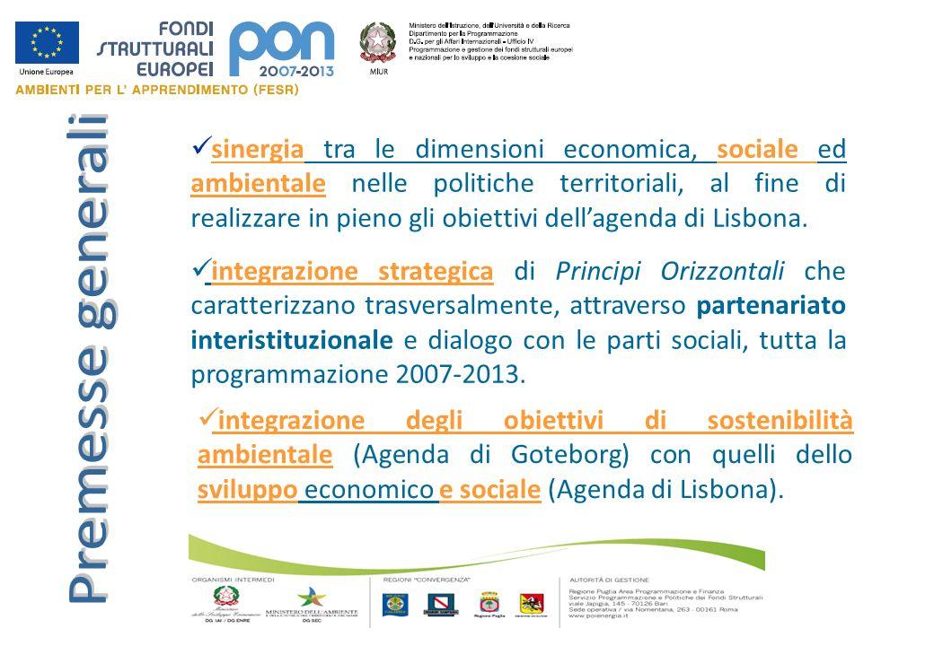 sinergia tra le dimensioni economica, sociale ed ambientale nelle politiche territoriali, al fine di realizzare in pieno gli obiettivi dellagenda di L