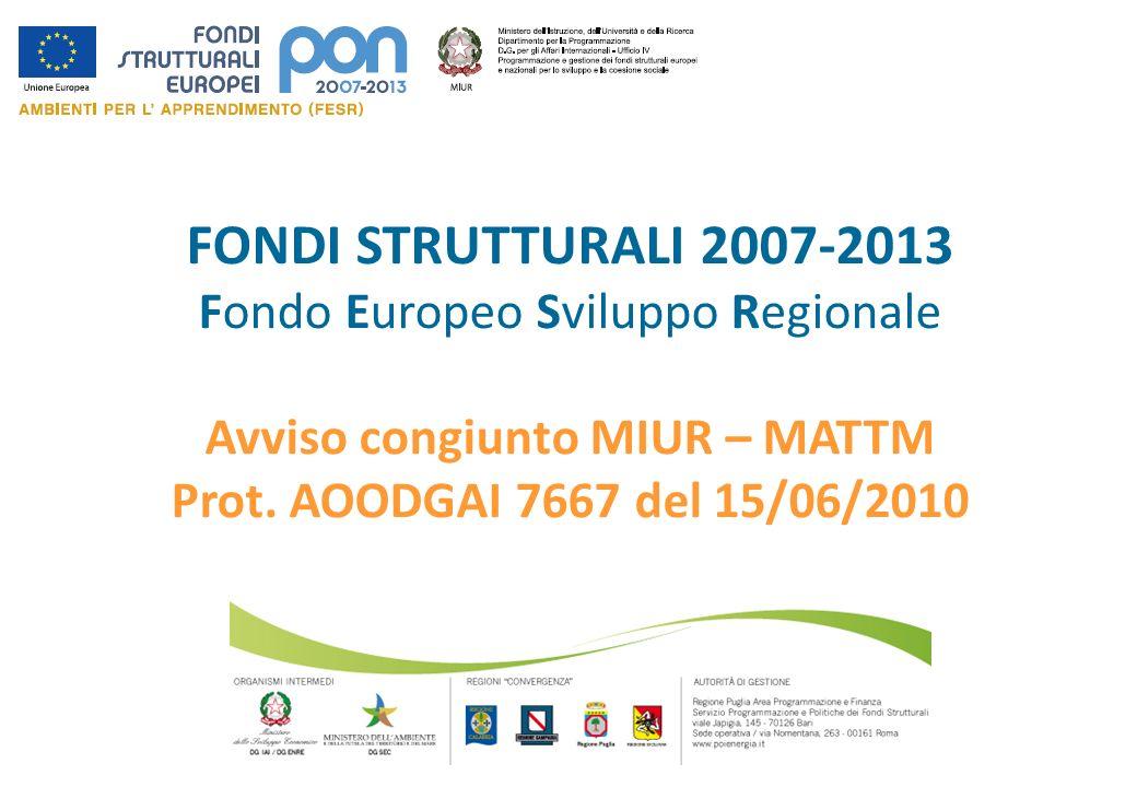 FONDI STRUTTURALI 2007-2013 Fondo Europeo Sviluppo Regionale Avviso congiunto MIUR – MATTM Prot. AOODGAI 7667 del 15/06/2010