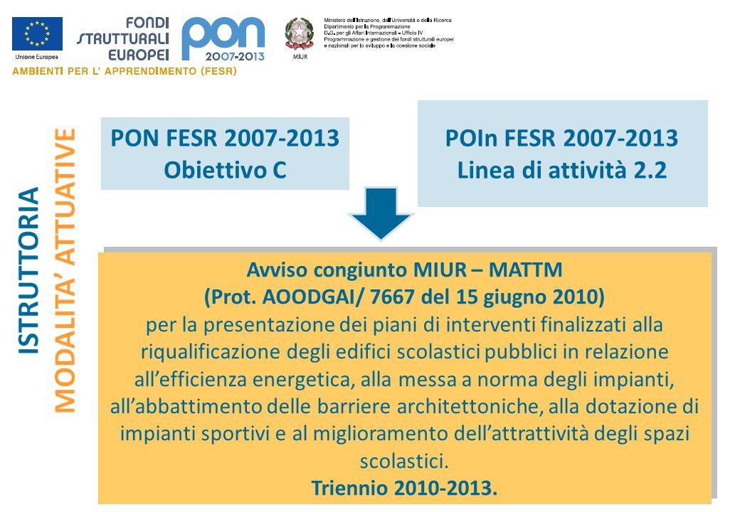 Avviso congiunto MIUR – MATTM (Prot. AOODGAI/ 7667 del 15 giugno 2010) per la presentazione dei piani di interventi finalizzati alla riqualificazione