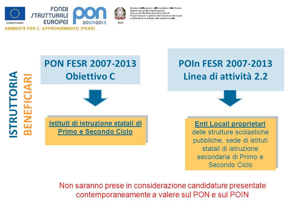 PON FESR 2007-2013 Obiettivo C POIn FESR 2007-2013 Linea di attività 2.2 Non saranno prese in considerazione candidature presentate contemporaneamente