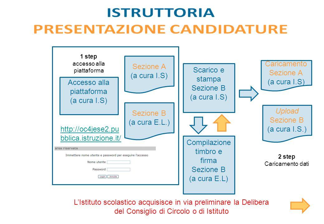 http://oc4jese2.pu bblica.istruzione.it/ Sezione A (a cura I.S) Accesso alla piattaforma (a cura I.S) 1 step accesso alla piattaforma Sezione B (a cur