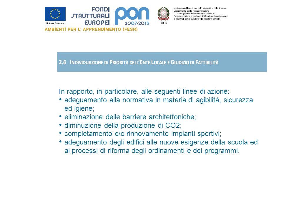 In rapporto, in particolare, alle seguenti linee di azione: adeguamento alla normativa in materia di agibilità, sicurezza ed igiene; eliminazione dell