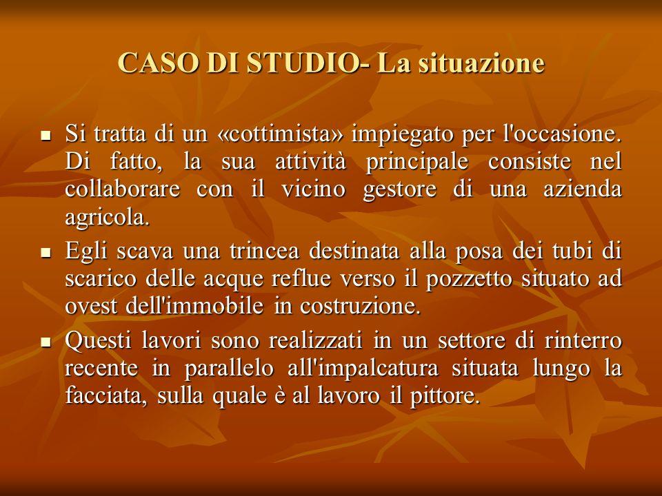 CASO DI STUDIO- La situazione Un pittore e uno sterratore lavorano su un cantiere situato in una nuova lottizzazione. Un pittore e uno sterratore lavo