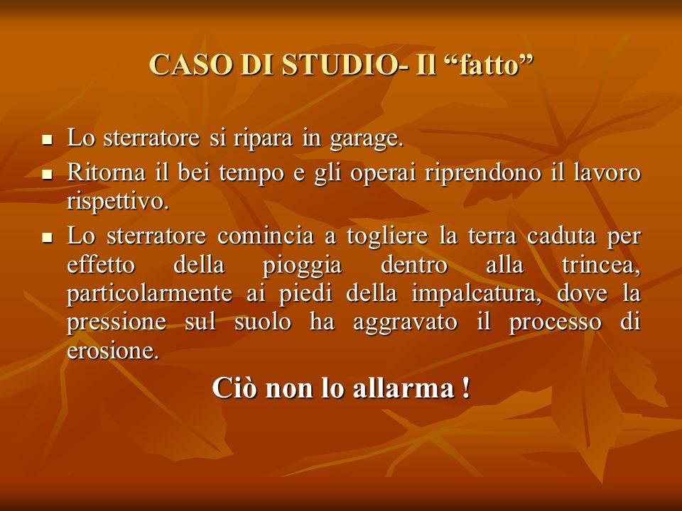CASO DI STUDIO- Il fatto Lo sterratore si ripara in garage. Lo sterratore si ripara in garage. Ritorna il bei tempo e gli operai riprendono il lavoro