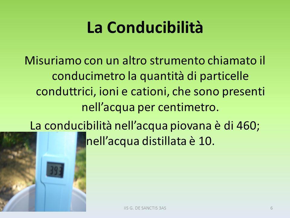 La Conducibilità Misuriamo con un altro strumento chiamato il conducimetro la quantità di particelle conduttrici, ioni e cationi, che sono presenti ne