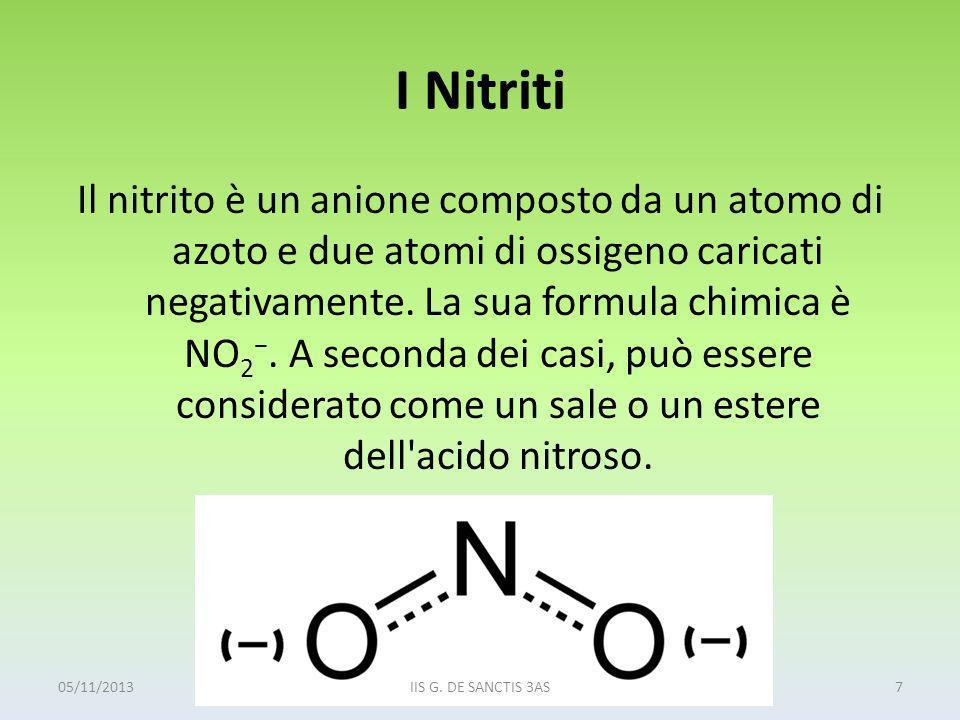 I Nitriti Il nitrito è un anione composto da un atomo di azoto e due atomi di ossigeno caricati negativamente. La sua formula chimica è NO 2. A second
