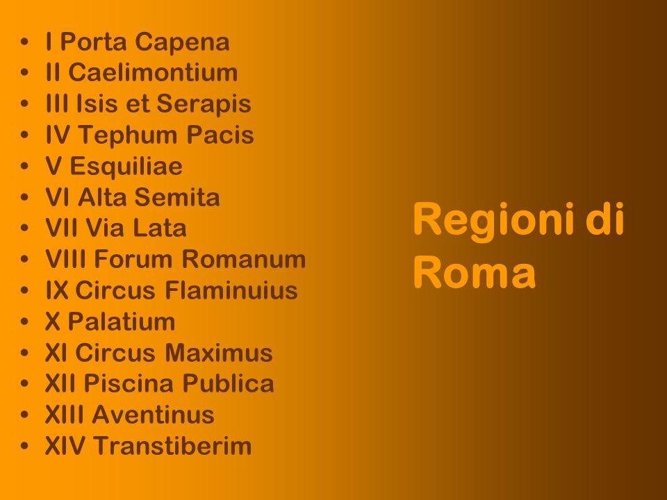 I Porta Capena II Caelimontium III Isis et Serapis IV Tephum Pacis V Esquiliae VI Alta Semita VII Via Lata VIII Forum Romanum IX Circus Flaminuius X P