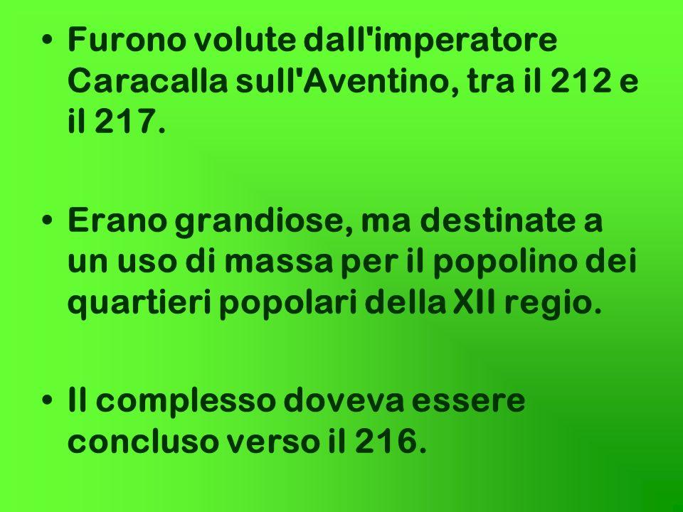 Furono volute dall'imperatore Caracalla sull'Aventino, tra il 212 e il 217. Erano grandiose, ma destinate a un uso di massa per il popolino dei quarti