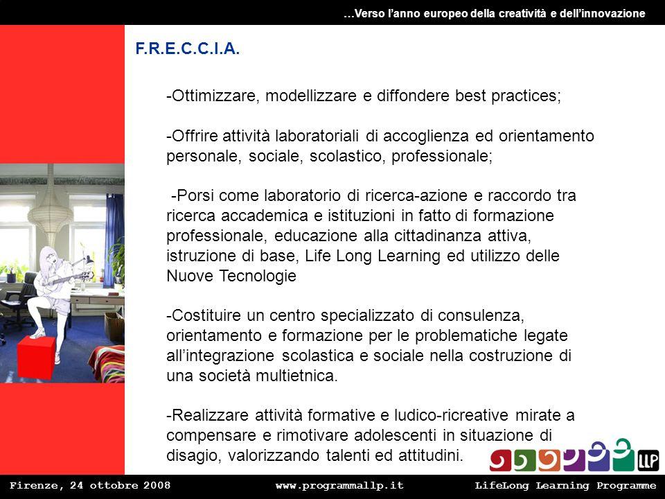 Firenze, 24 ottobre 2008 www.programmallp.itLifeLong Learning Programme …Verso lanno europeo della creatività e dellinnovazione F.R.E.C.C.I.A. -Ottimi