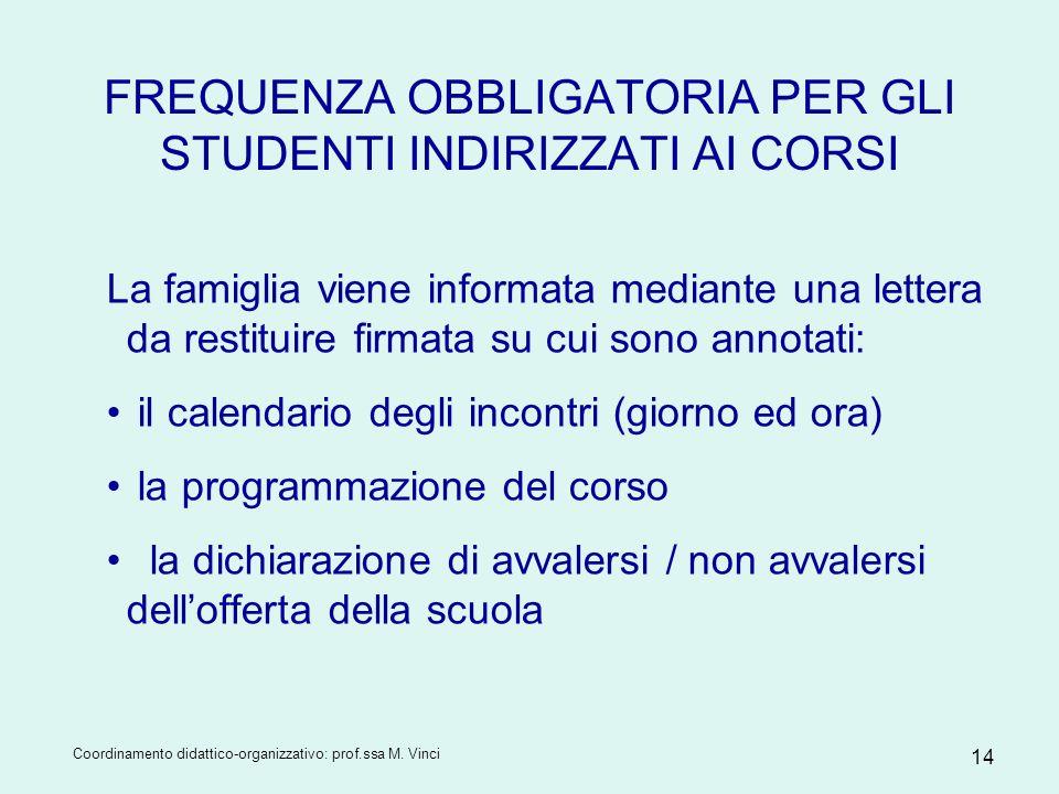 Coordinamento didattico-organizzativo: prof.ssa M. Vinci 14 FREQUENZA OBBLIGATORIA PER GLI STUDENTI INDIRIZZATI AI CORSI La famiglia viene informata m