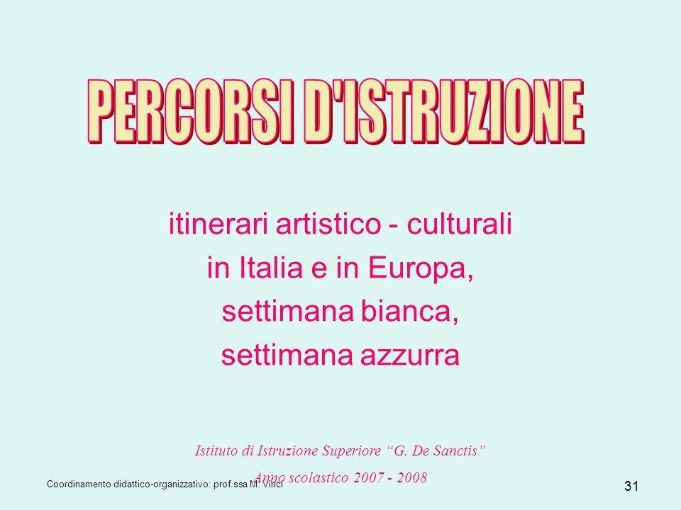 Coordinamento didattico-organizzativo: prof.ssa M. Vinci 31 itinerari artistico - culturali in Italia e in Europa, settimana bianca, settimana azzurra