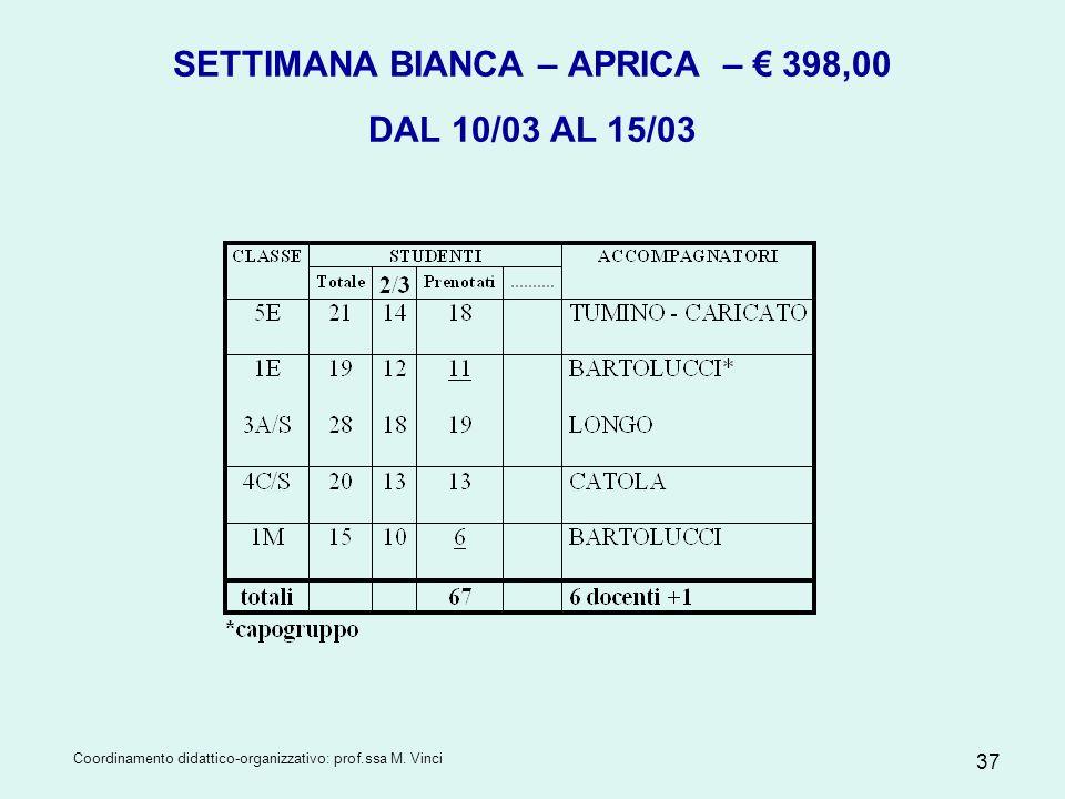 Coordinamento didattico-organizzativo: prof.ssa M. Vinci 37 SETTIMANA BIANCA – APRICA – 398,00 DAL 10/03 AL 15/03