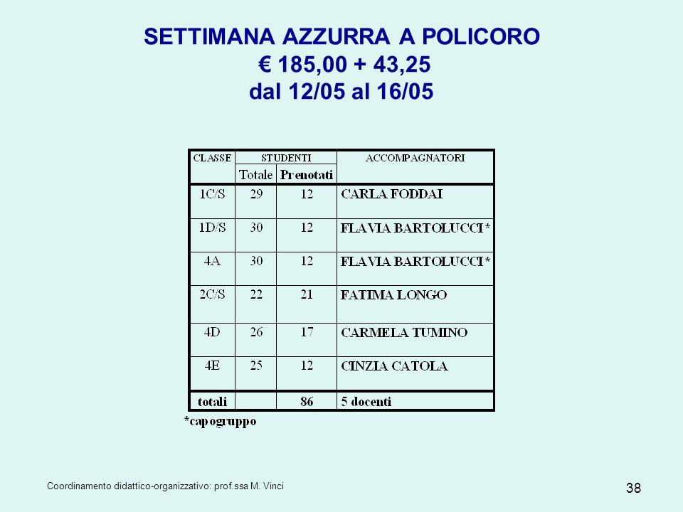 Coordinamento didattico-organizzativo: prof.ssa M. Vinci 38 SETTIMANA AZZURRA A POLICORO 185,00 + 43,25 dal 12/05 al 16/05