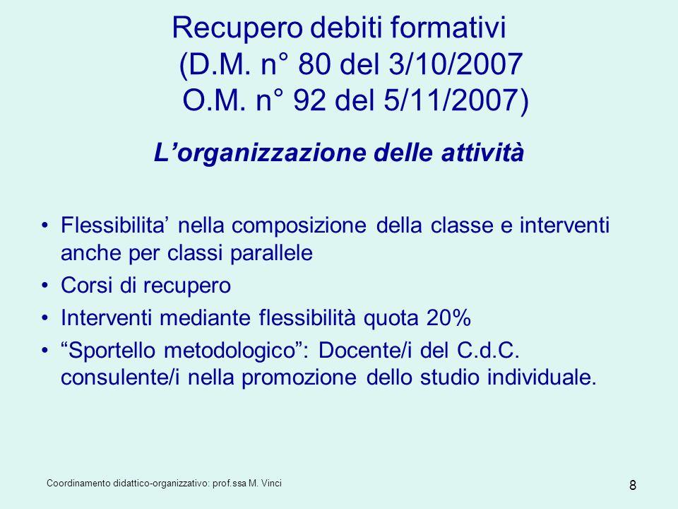Coordinamento didattico-organizzativo: prof.ssa M. Vinci 8 Recupero debiti formativi (D.M. n° 80 del 3/10/2007 O.M. n° 92 del 5/11/2007) Lorganizzazio