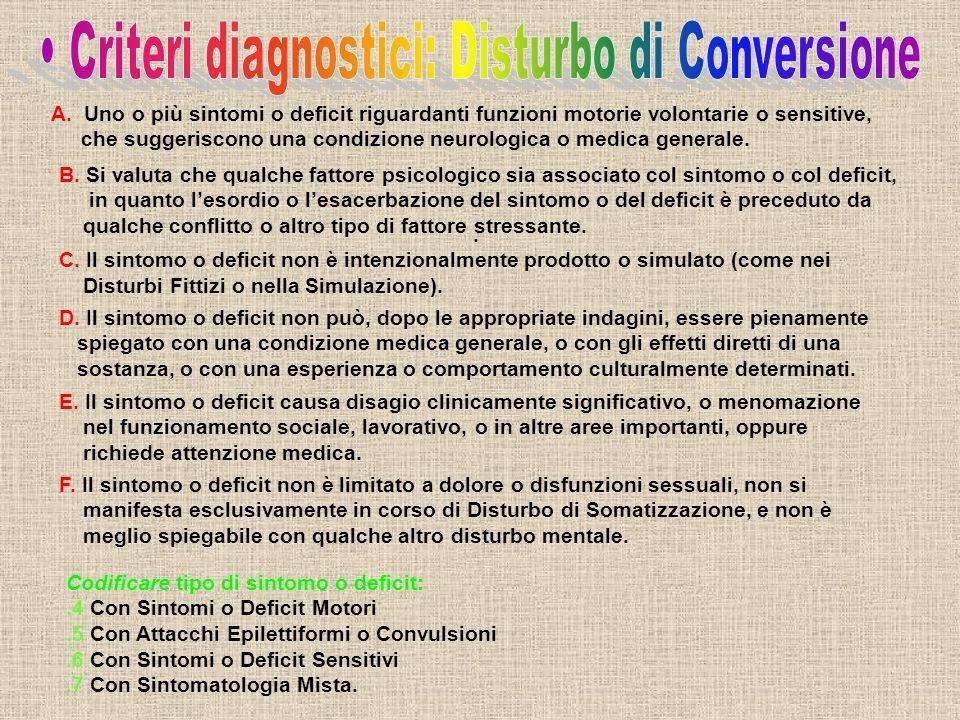 A. Uno o più sintomi o deficit riguardanti funzioni motorie volontarie o sensitive, che suggeriscono una condizione neurologica o medica generale. B.