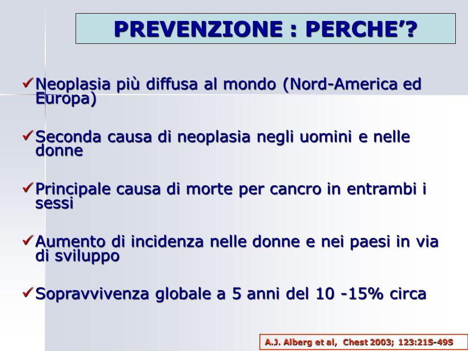 Neoplasia più diffusa al mondo (Nord-America ed Europa) Neoplasia più diffusa al mondo (Nord-America ed Europa) Seconda causa di neoplasia negli uomin