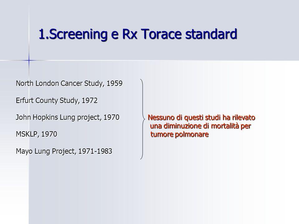 1.Screening e Rx Torace standard North London Cancer Study, 1959 Erfurt County Study, 1972 John Hopkins Lung project, 1970 Nessuno di questi studi ha