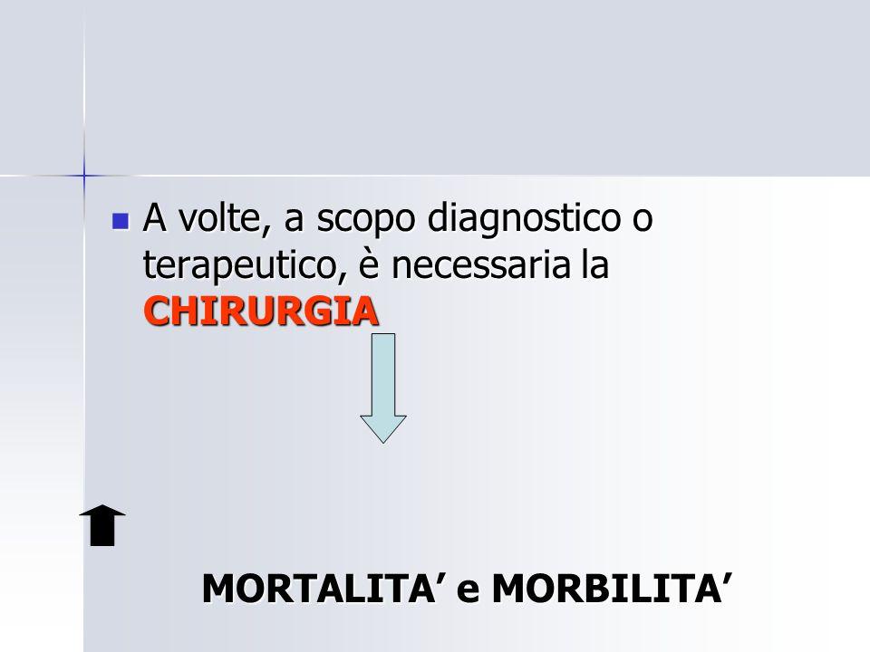 A volte, a scopo diagnostico o terapeutico, è necessaria la CHIRURGIA A volte, a scopo diagnostico o terapeutico, è necessaria la CHIRURGIA MORTALITA