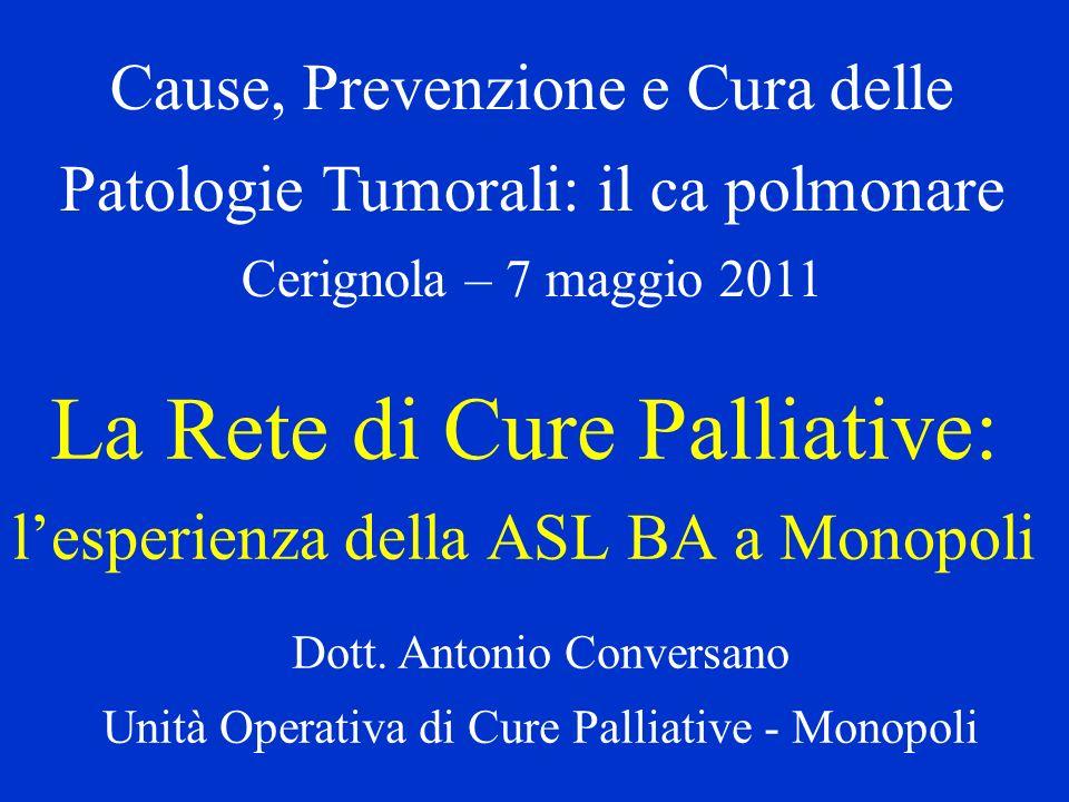 Ricoveri inappropriati di pazienti oncologici in fase avanzata (Dati del Ministero della Salute) Su 160.000 persone che ogni anno in Italia muoiono per patologia tumorale 55.000 muoiono in Ospedali per acuti.