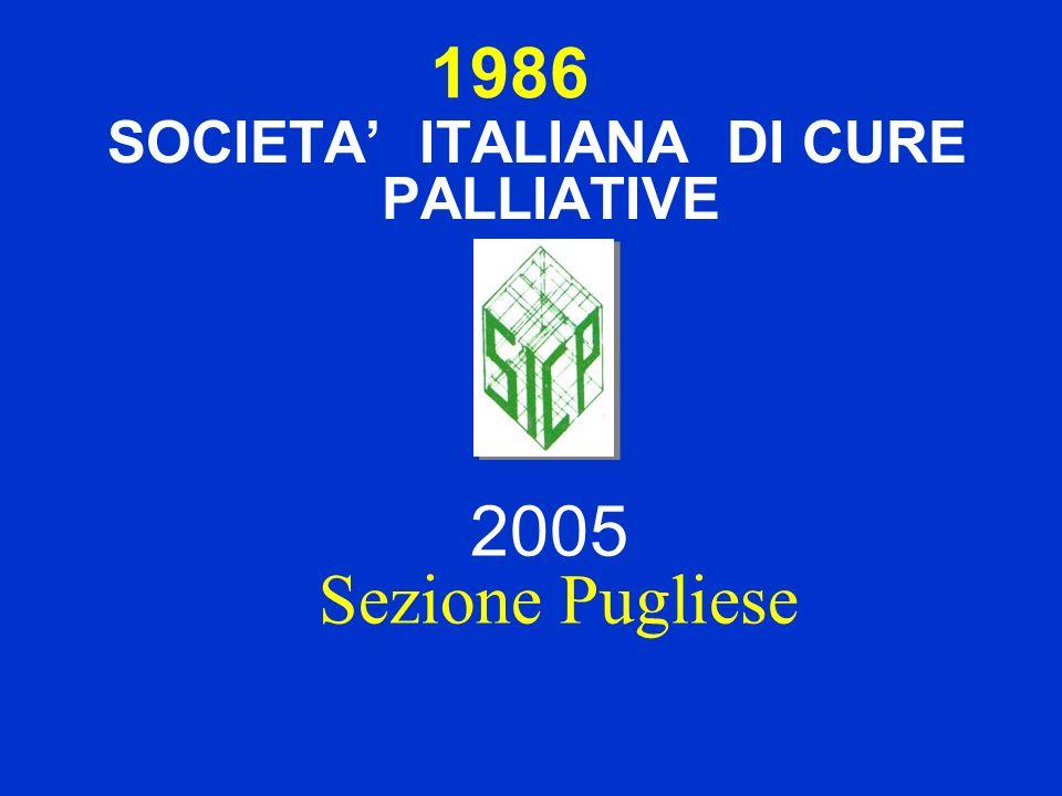 1986 SOCIETA ITALIANA DI CURE PALLIATIVE 2005 Sezione Pugliese