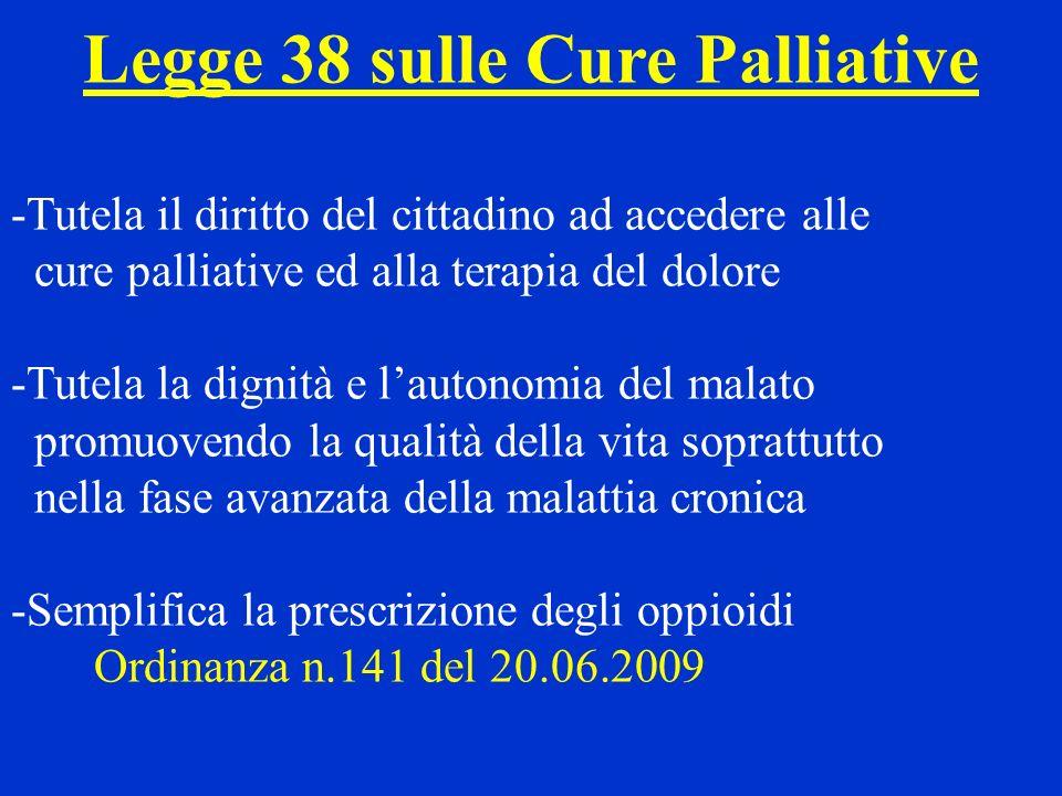 La Rete delle cure palliative, prevista dal PSR, è composta da Unità Operative di Cure Palliative (UOCP) che devono garantire la presa in carico del paziente offrendo (D.M.n.43 del 22.02.07) la possibilità di: 1) cure domiciliari 2) ricovero in hospice 3) prestazioni in regime di day hospice 4) assistenza ambulatoriale Il PSR ritiene opportuna la presenza di almeno una UOCP ogni 350.000 abitanti circa, che quindi ha dimensione sovradistrettuale.