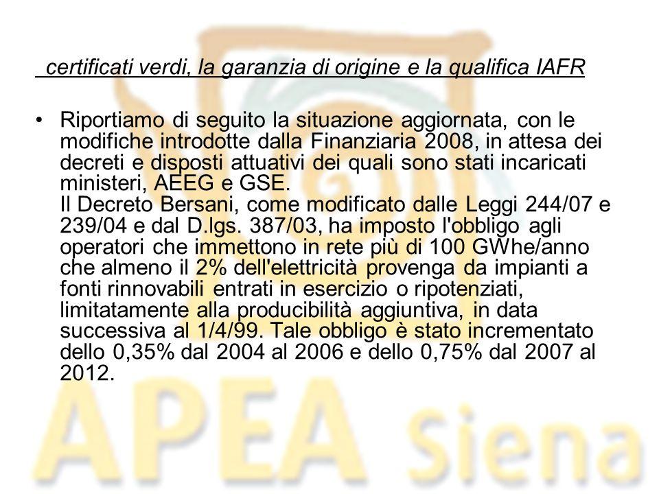 Alla produzione degli impianti alimentati da fonte rinnovabile entrati in esercizio prima del 2008, che abbiano ottenuto la qualifica IAFR, viene associato un certificato verde (CV) ogni MWhe/anno prodotto (in caso di nuova costruzione, rifacimento o riattivazione).