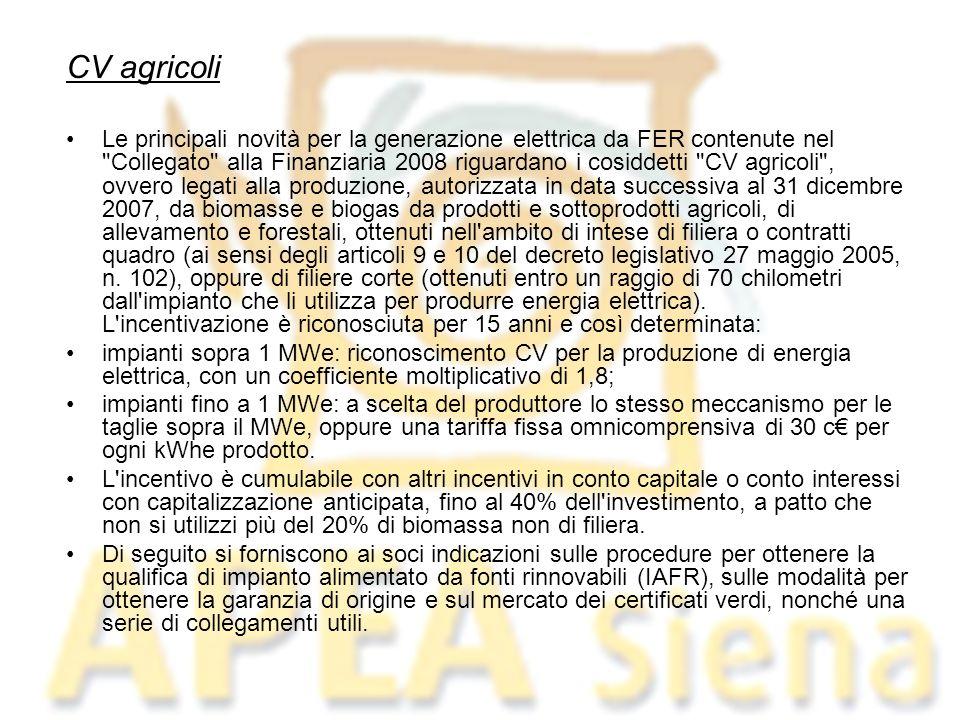 CV agricoli Le principali novità per la generazione elettrica da FER contenute nel