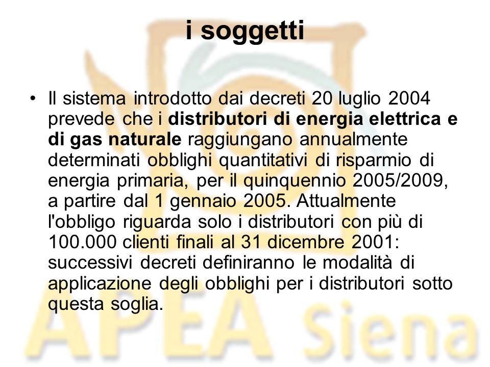 i soggetti Il sistema introdotto dai decreti 20 luglio 2004 prevede che i distributori di energia elettrica e di gas naturale raggiungano annualmente