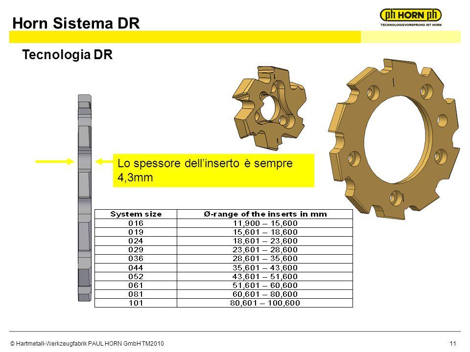 © Hartmetall-Werkzeugfabrik PAUL HORN GmbH TM2010 Lo spessore dellinserto è sempre 4,3mm Horn Sistema DR Tecnologia DR 11