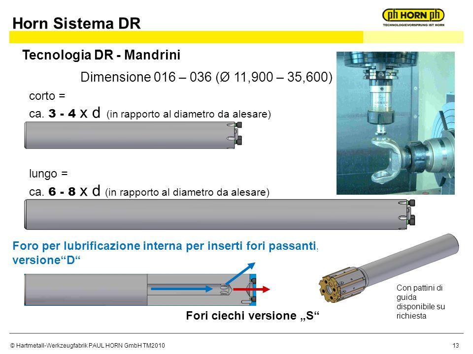 © Hartmetall-Werkzeugfabrik PAUL HORN GmbH TM2010 corto = ca. 3 - 4 x d (in rapporto al diametro da alesare) lungo = ca. 6 - 8 x d (in rapporto al dia