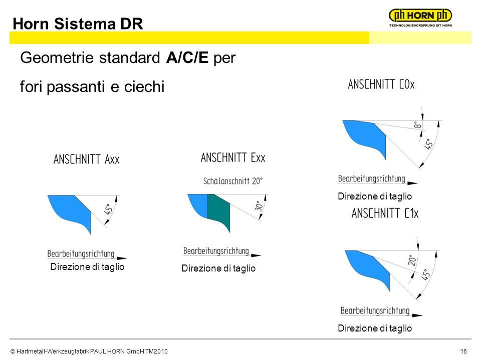 © Hartmetall-Werkzeugfabrik PAUL HORN GmbH TM2010 Horn Sistema DR Geometrie standard A/C/E per fori passanti e ciechi 16 Direzione di taglio